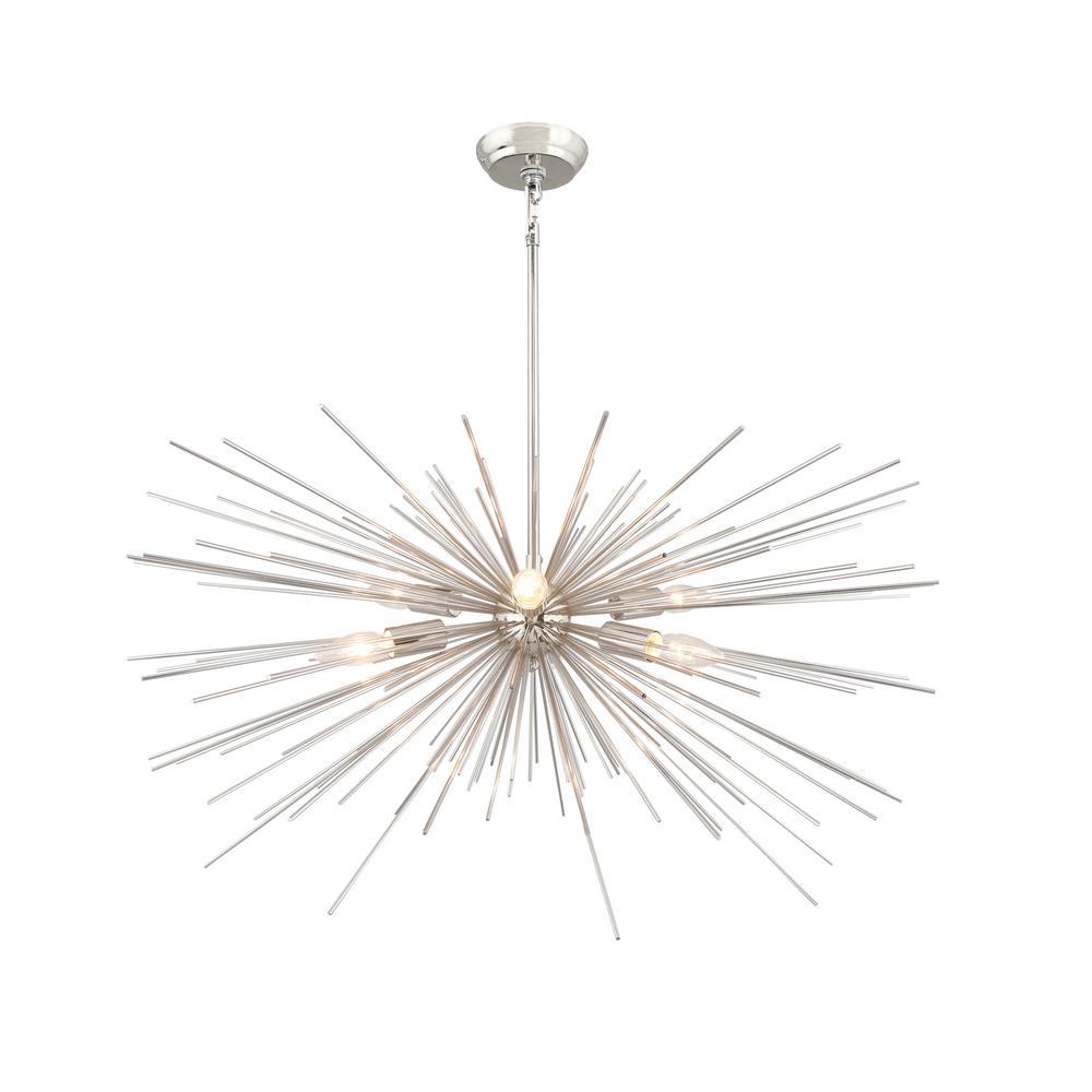 6 Light Nickel Embled Sputnik Chandelier