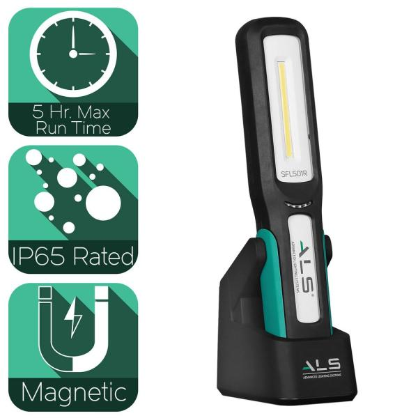 500 Lumens LED Work Light with Integrated Magnetic Rotating Stand, Hanging Hook, and Magnetic Mountable Charging Stand
