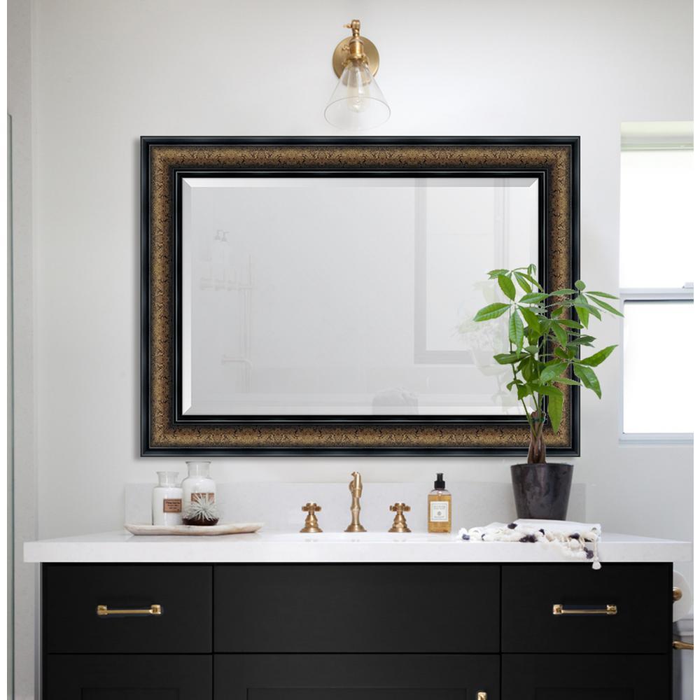33 in. x 45 in. Framed 4-1/4 in. Bronze with Black Trim Resin Frame Mirror