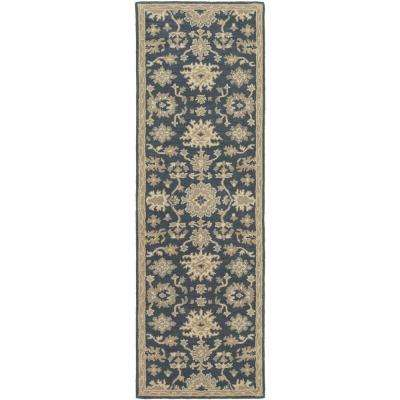 Gilgamesh Navy 3 Ft X 12 Ft Indoor Runner Rug