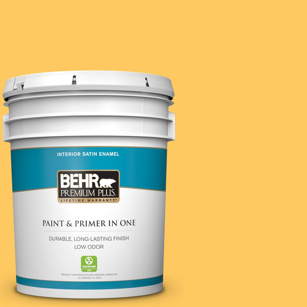 BEHR Premium Plus 5 gal. #P260-6 Smiley Face Satin Enamel Low Odor Interior Paint and Primer in One For a paint that's as versatile as it is beautiful, choose BEHR PREMIUM PLUS Low Odor, Paint & Primer in One Satin Enamel Interior paint. This rich, all-surface sheen is great for any room in the house! The pearl-like finish makes it perfect for adding a pop of color to both walls and trim. Color: Smiley Face.