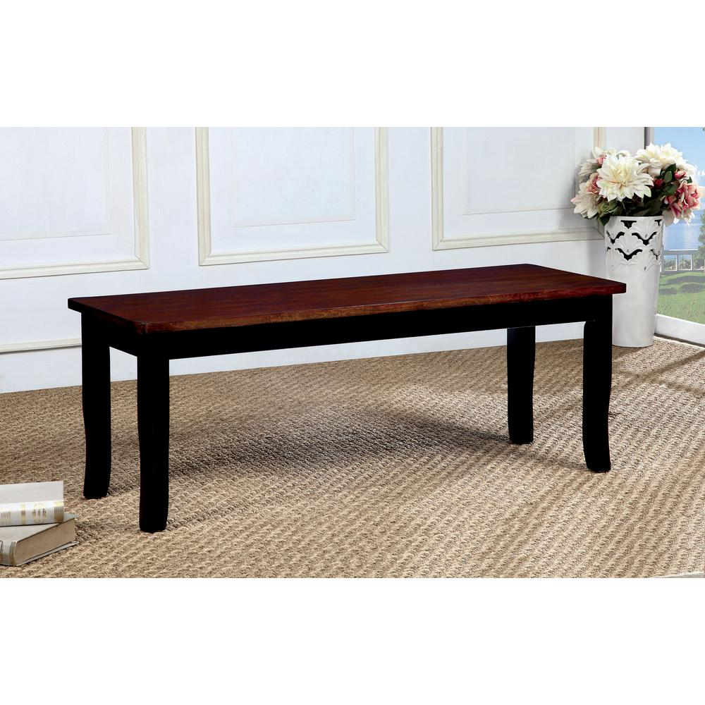 Black and cherry transitional style bench