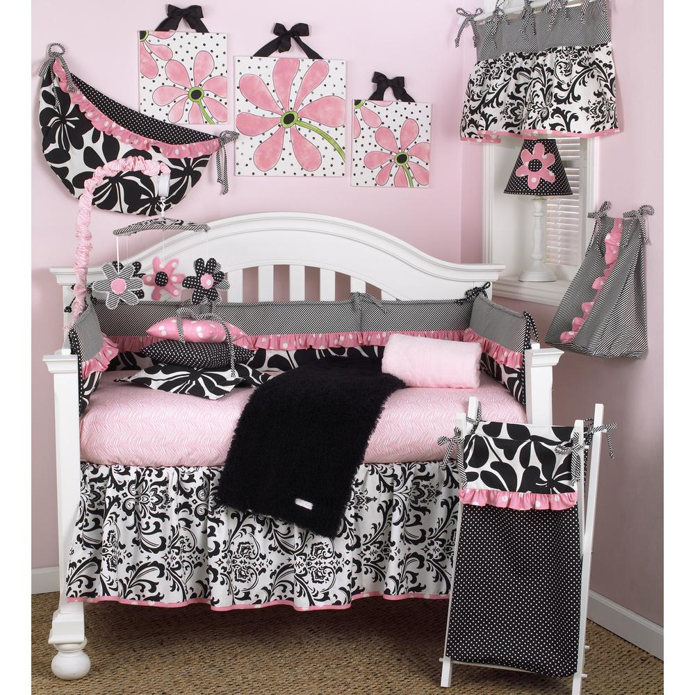Girly Pink Nursery Decor: Cotton Tale Designs Girly Pink Floral 4-Piece Crib Bedding