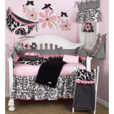 Girly Pink Floral 4-Piece Crib Bedding Set