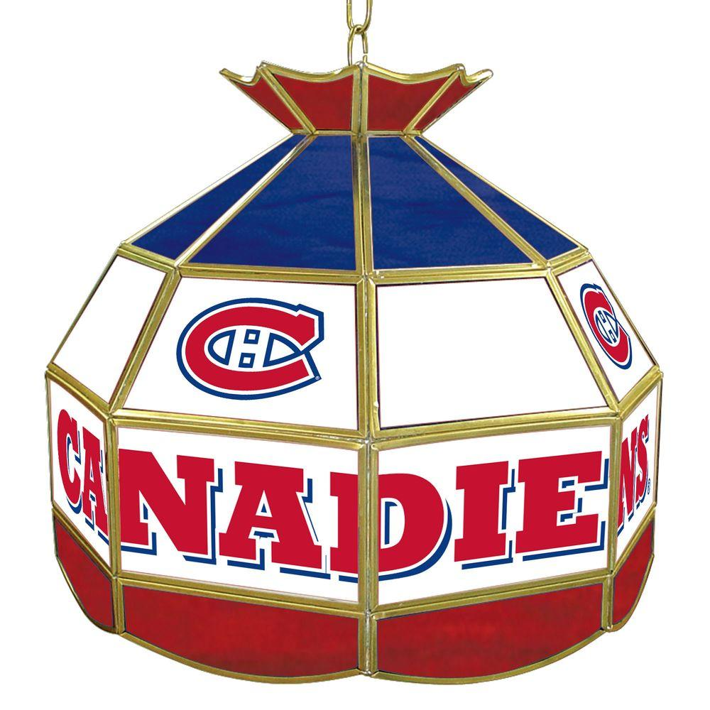 Trademark Global NHL Montreal Canadiens 16 in. Gold Hanging Tiffany Style Billiard Lamp