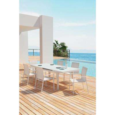 Mayakoba Arm Aluminum Outdoor Dining Chair in White (4-Pack)