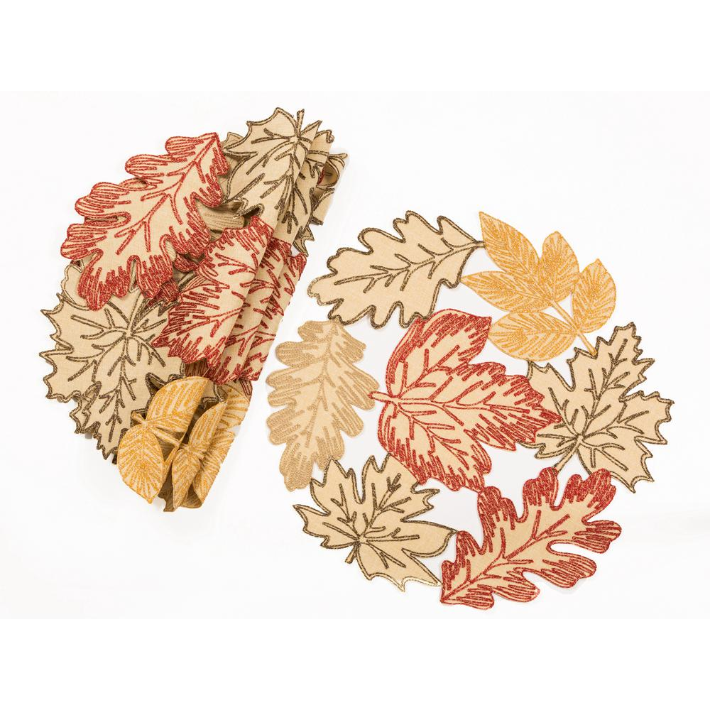 0.1 in. H x 16 in. W Round Autumn Leaves Embroidered