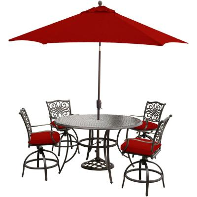 Traditions 5-Piece Aluminum Outdoor Bar Height Dining Set with Red Cushions, Swivel Chairs, Table, Umbrella and Stand
