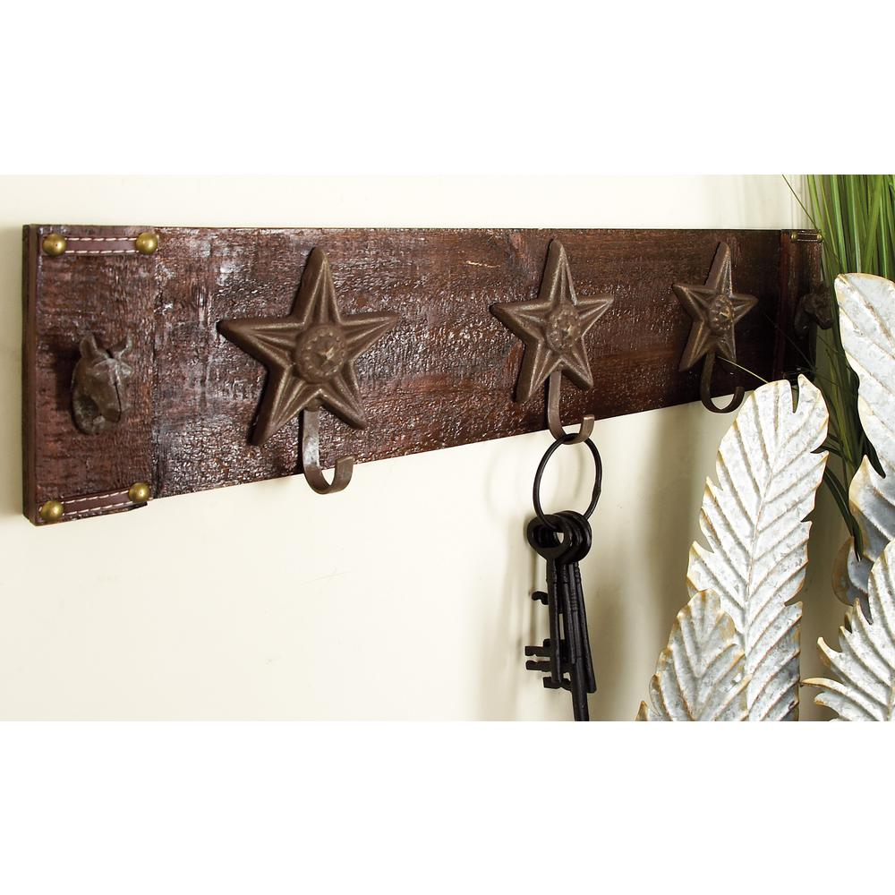 28 in. W x 6 in. H Wood and Iron Wall