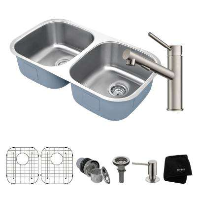 Premier All-in-One Undermount Stainless Steel 32 in. 50/50 Double Bowl Kitchen Sink with Faucet in Stainless Steel