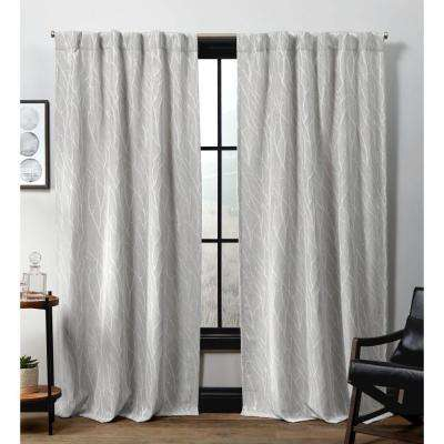 Forest Hill HT Dove Grey Blackout Hidden Tab Top Curtain Panel - 52 in. W x 96 in. L (2-Panel)