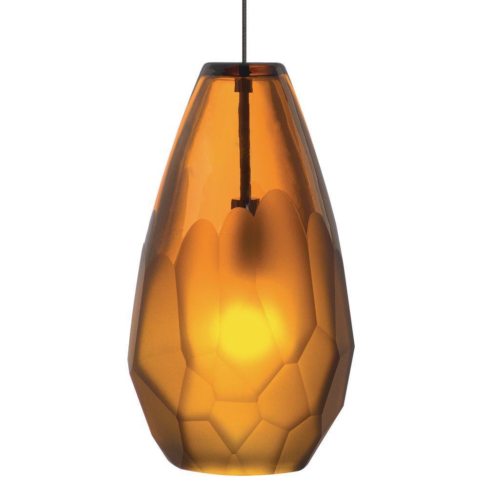 Briolette 1-Light Bronze Amber Xenon Hanging Mini Pendant
