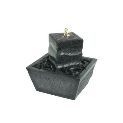 Illuminated Relaxation Fountain with Granite Pillar and Natural Stones