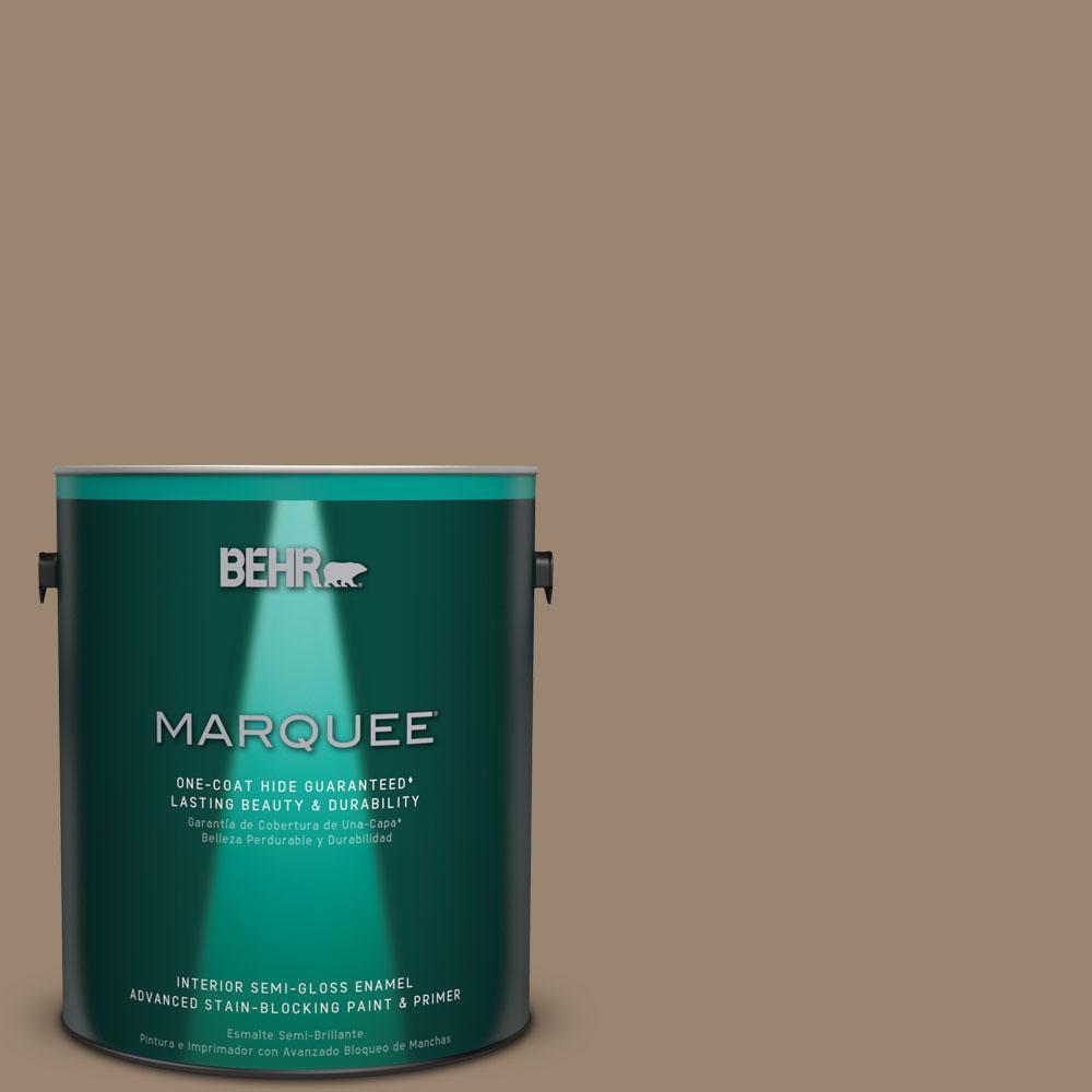 BEHR MARQUEE 1 gal. #MQ2-48 Sturdy Brown One-Coat Hide Semi-Gloss Enamel Interior Paint