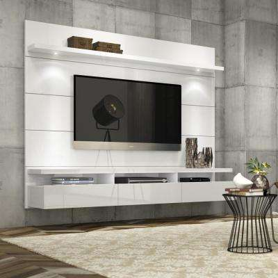 Awesome Cabrini Theater White Gloss Entertainment Center