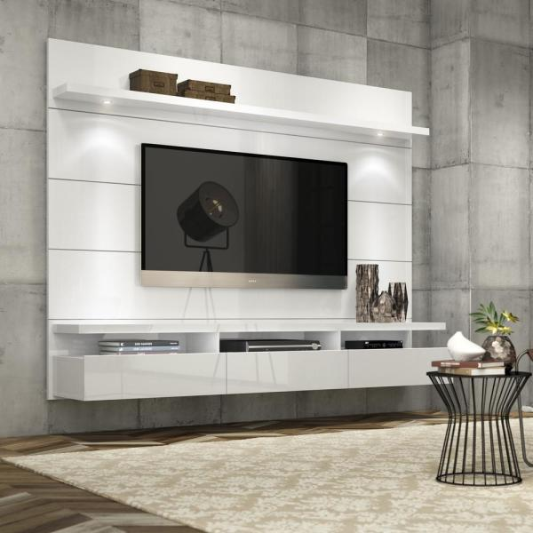 Manhattan Comfort Cabrini Theater White Gloss Entertainment Center 23752