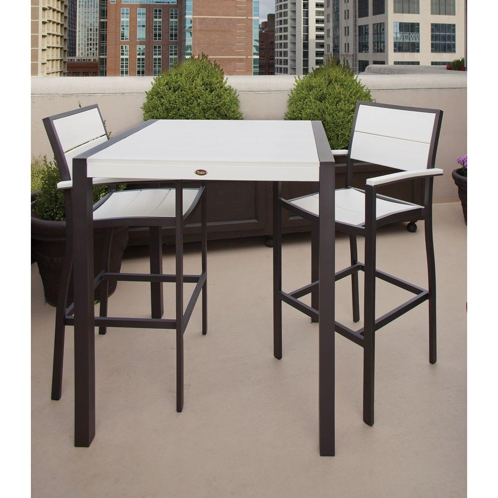 Trex Outdoor Furniture Surf City Textured Bronze 3 Piece Patio Bar Set With  Classic White