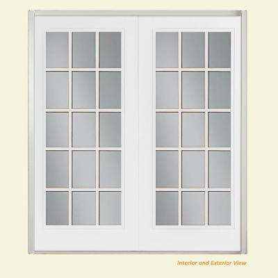 72 in. x 80 in. Primed White Steel Prehung Right-Hand Inswing 15-Lite GBG Clear Glass Fiberglass Patio Door Vinyl Frame