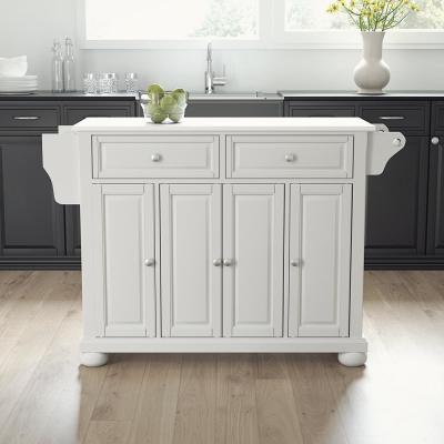 Alexandria White Full Size Kitchen Island/Cart with Granite Top