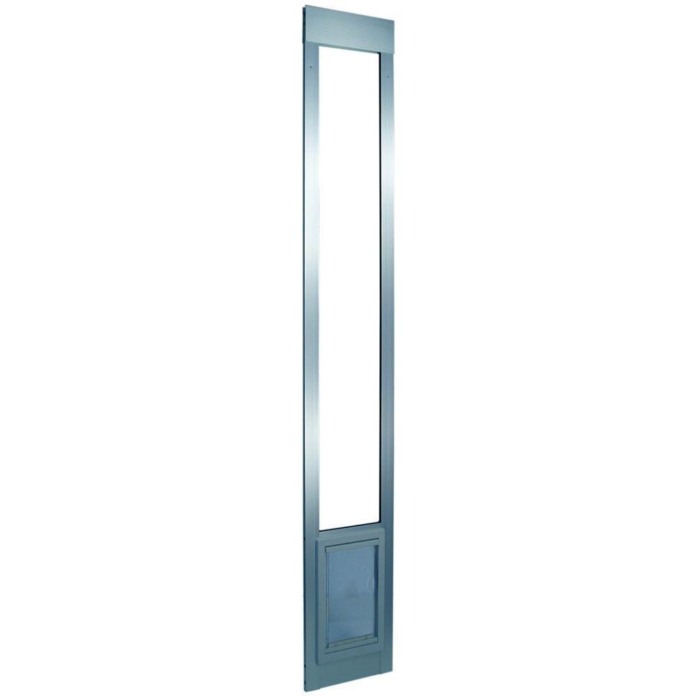 Ideal Pet 7 in. x 11.25 in. Medium Mill Aluminum Pet Patio Door Fits 77.6 in. to 80.4 in. Standard Alum. Slider
