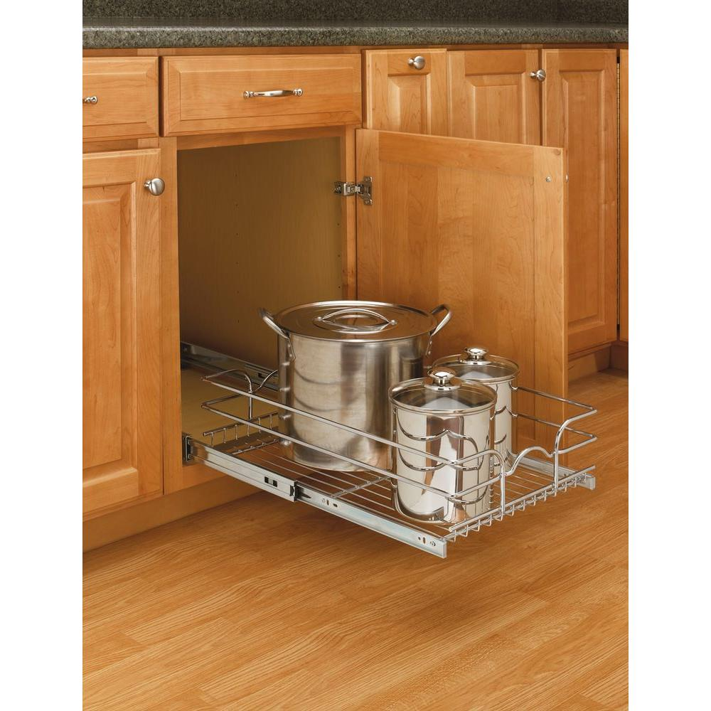 Rev A Shelf 7 In H X 14 375 W 22 D Base Cabinet Pull Out Chrome Wire Basket 5wb1 1522 Cr The Home Depot