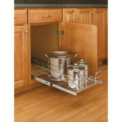 7 in. H x 14.375 in. W x 22 in. D Base Cabinet Pull-Out Chrome Wire Basket