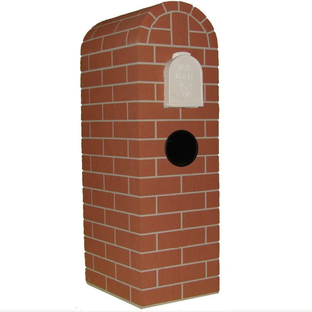 Chicago Brick Round Red Tones Post Mount Mail Column