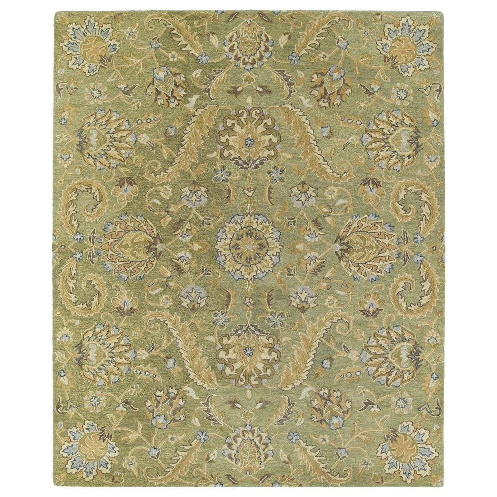 Area Rugs Home Depot: Kaleen Helena Virgil Green 8 Ft. X 10 Ft. Area Rug-3205-50