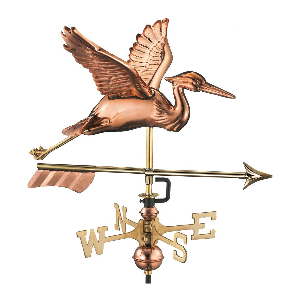 Blue Heron with Arrow Cottage Weathervane-Pure Copper with Roof Mount