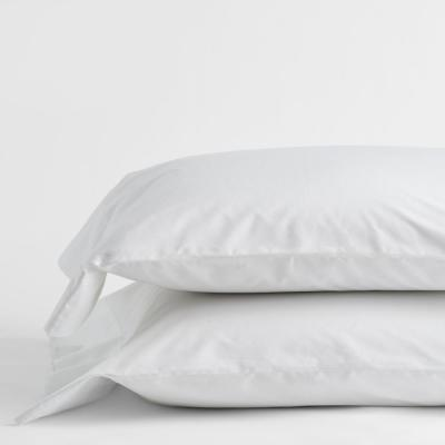 Classic White Solid 210-Thread Count Cotton Percale Standard Pillowcase (Set of 2)