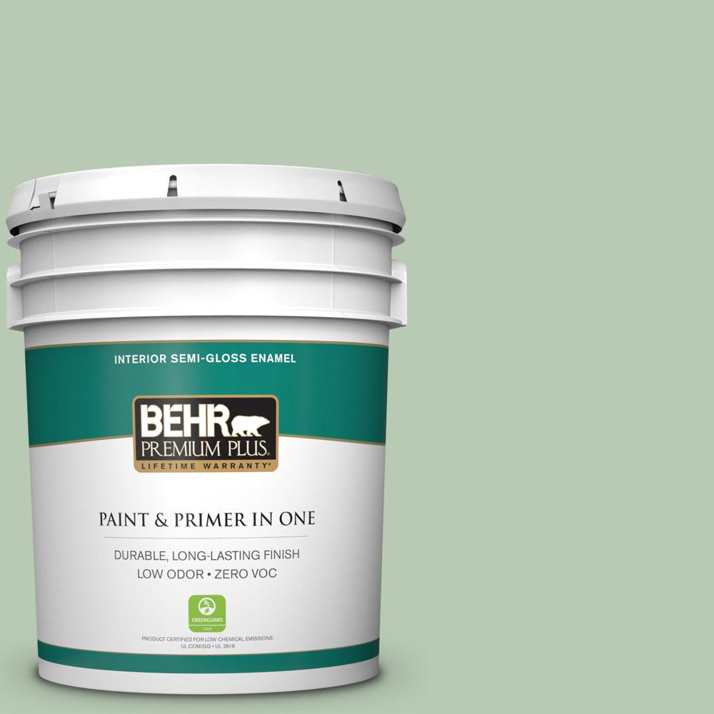 BEHR Premium Plus 5-gal. #S400-3 Healing Aloe Semi-Gloss Enamel Interior Paint