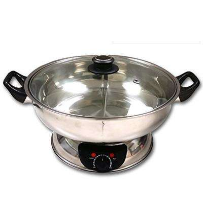 Shabu Silver Stainless Steel Electric Wok Mongolian Hot Pot with Divider