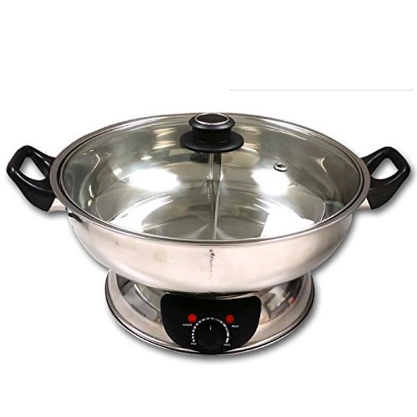 Shabu 7.75 in. Stainless Steel Electric Wok Mongolian Hot Pot with Broiler