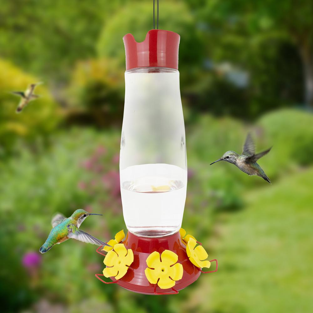 Heavy Duty Dew Drop Hanging Wildlife Red Plastic New Hummingbird Feeder 32 Oz