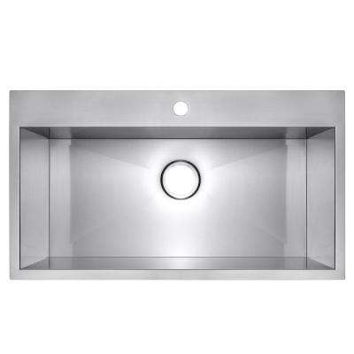 Handmade Drop-in Stainless Steel 32 in. x 18 in. x 9 in. 1-Hole Single Bowl Kitchen Sink in Brushed Finish