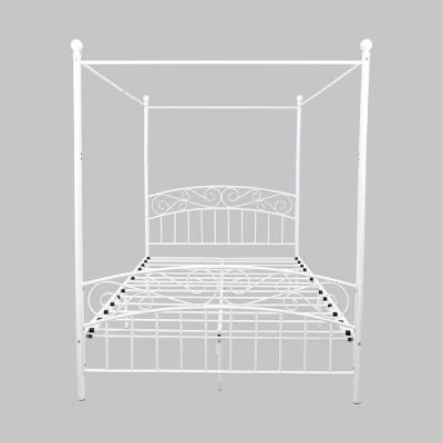 White Queen Size Metal Canopy Platform Bed Frame with Headboard and Footboard