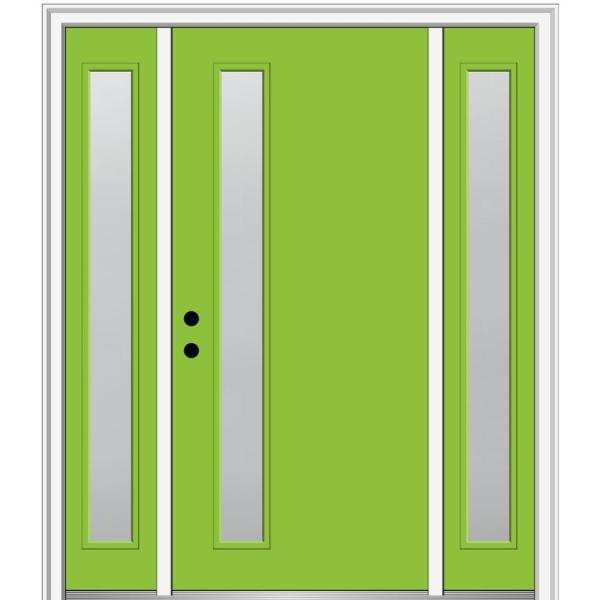 Mmi Door 68 5 In X 81 75 In Viola Right Hand Inswing 1 Lite Frosted Painted Fiberglass Smooth Prehung Front Door With Sidelites Z0349771r The Home Depot