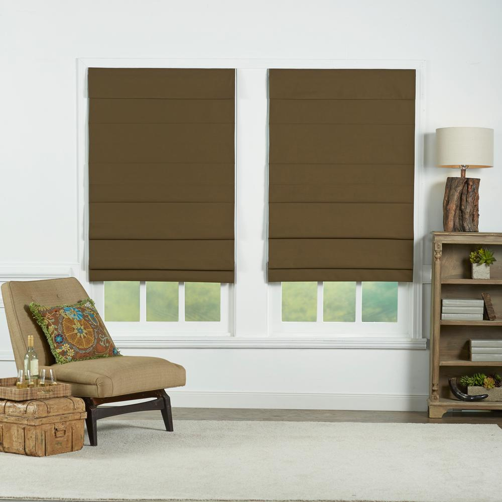 Chocolate Insulating Cordless Cotton Roman Shade - 35 in. W x