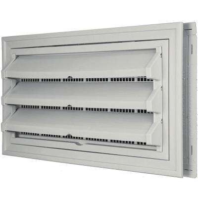 9-3/8 in. x 17-1/2 in. Foundation Vent Kit with Trim Ring and Optional Fixed Louvers (Molded Screen) in #030 Paintable