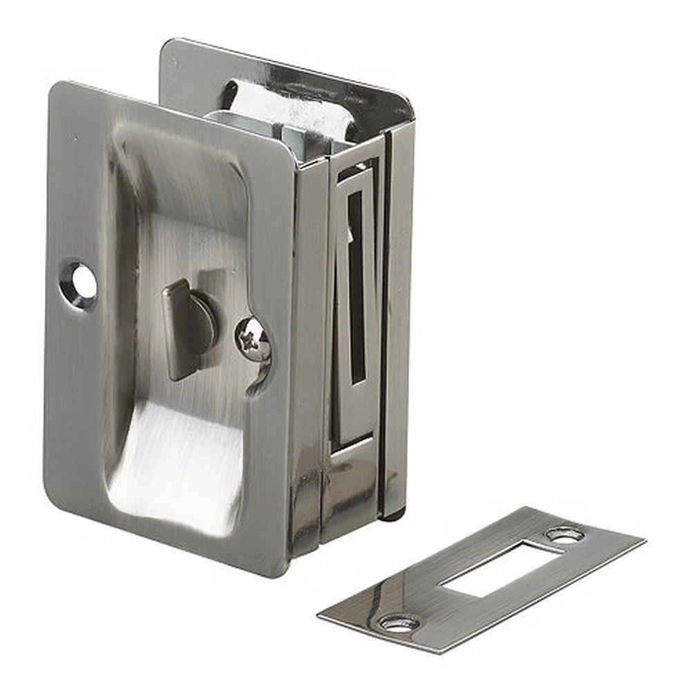 3-7/32 in. Antique Nickel Pocket Door Pull with Privacy Lock
