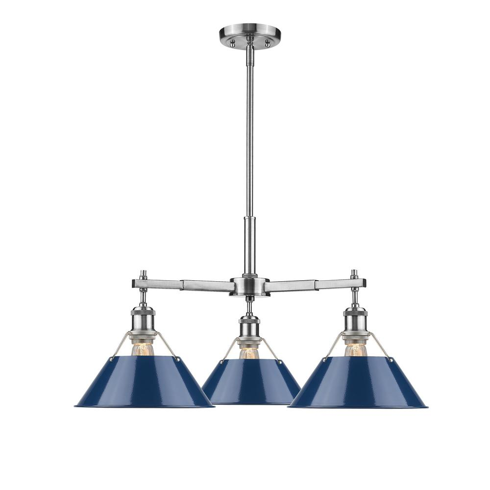 Orwell PW 3-Light Pewter Chandelier with Navy Blue Shade