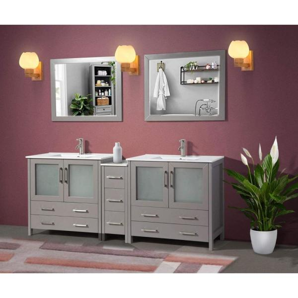 Brescia 84 in. W x 18 in. D x 36 in. H Bathroom Vanity in Grey with Double Basin Top in White Ceramic and Mirrors