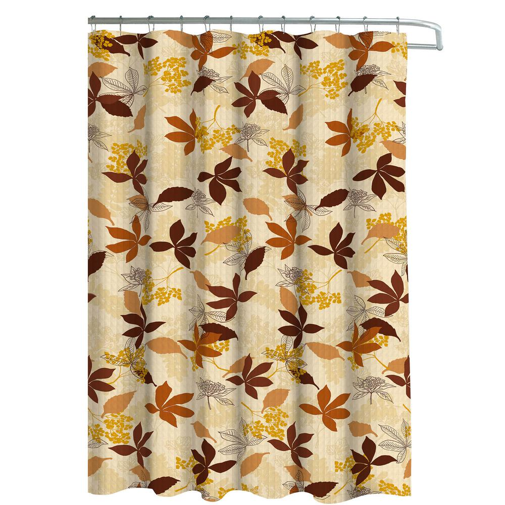 Oxford Weave Textured 70 In W X 72 L Shower Curtain With Metal Roller Hooks Blowing Leaves Chocolate