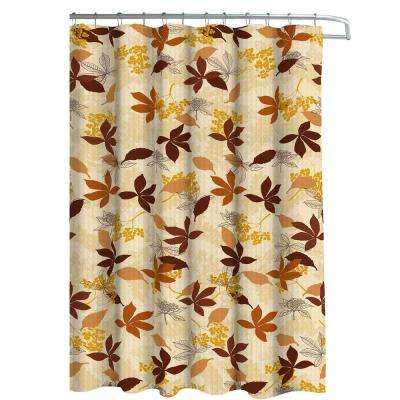 Blowing Leaves Chocolate Shower Curtains