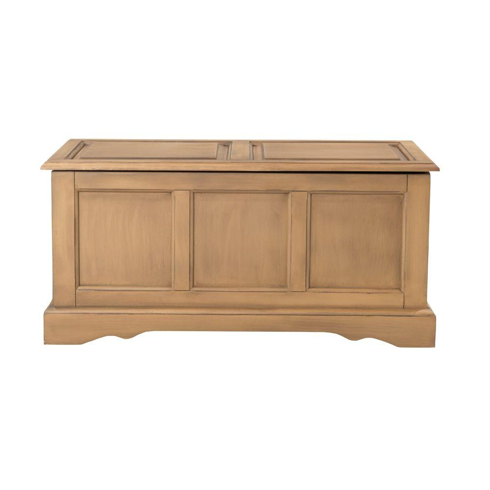 Home Decorators Collection Cameron Bench with Blanket Chest in Heritage Oak