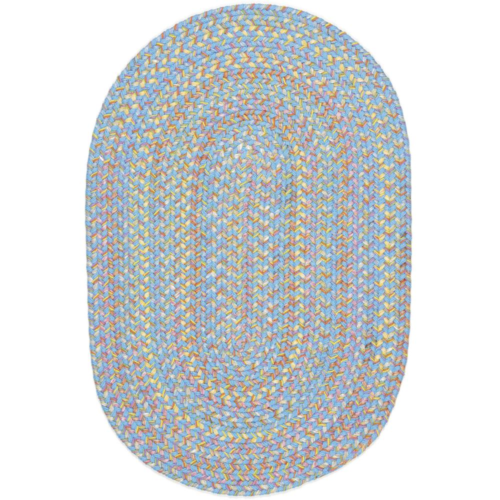 Rhody Rug Play Date Aqua Blue Multi 5 Ft. X 8 Ft. Oval