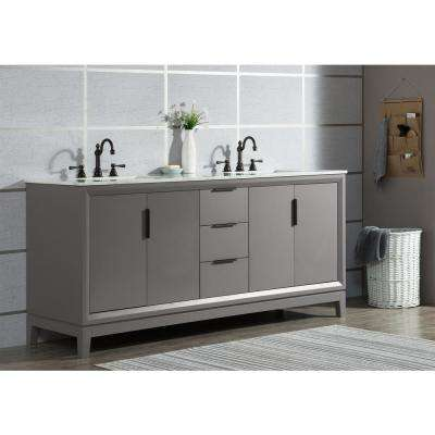 Elizabeth 72 in. Cashmere Grey With Carrara White Marble Vanity Top With Ceramics White Basins and Faucet