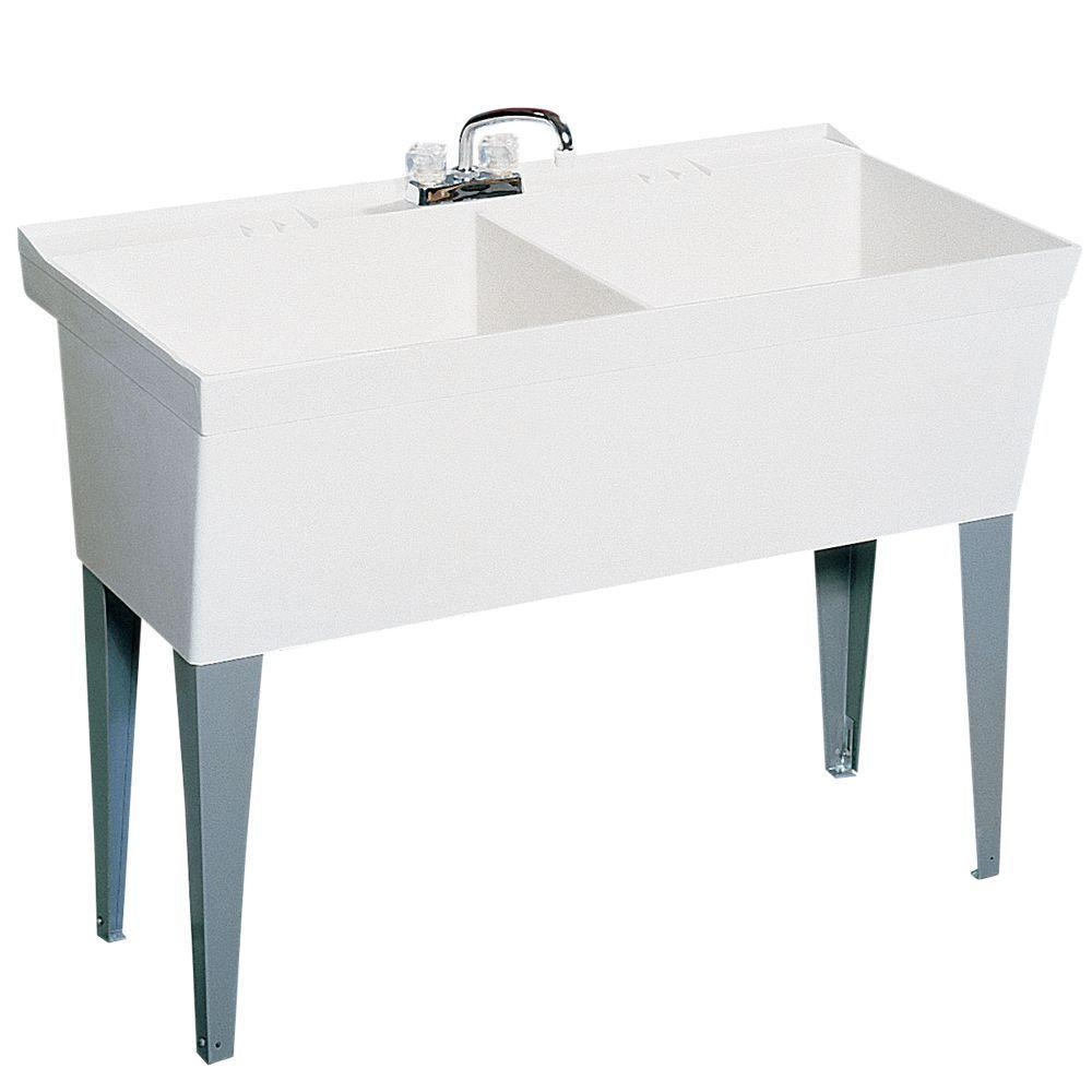 Swan 23.375 in. x 45.375 in. Veritek Double Bowl Laundry Tub