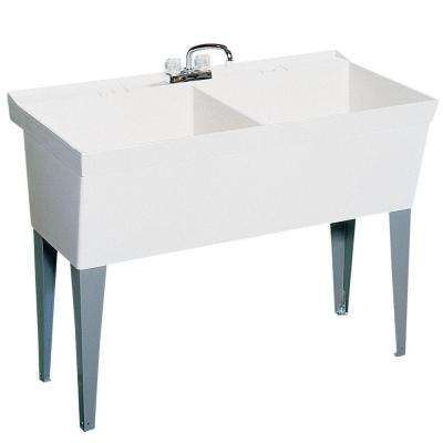 23.375 in. x 45.375 in. Veritek Double Bowl Laundry Tub