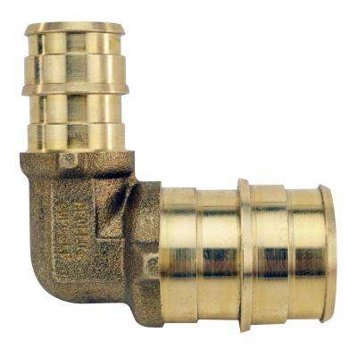 1/2 in. x 3/4 Brass PEX-A Expansion Barb Reducing 90 Elbow